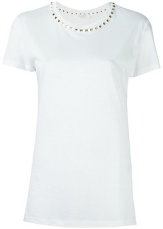 Valentino Rockstud trimmed white t-shirt