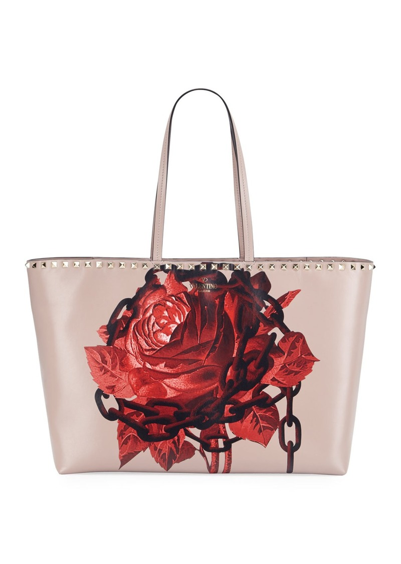 Valentino Rockstud Undercover Print Leather Tote Bag