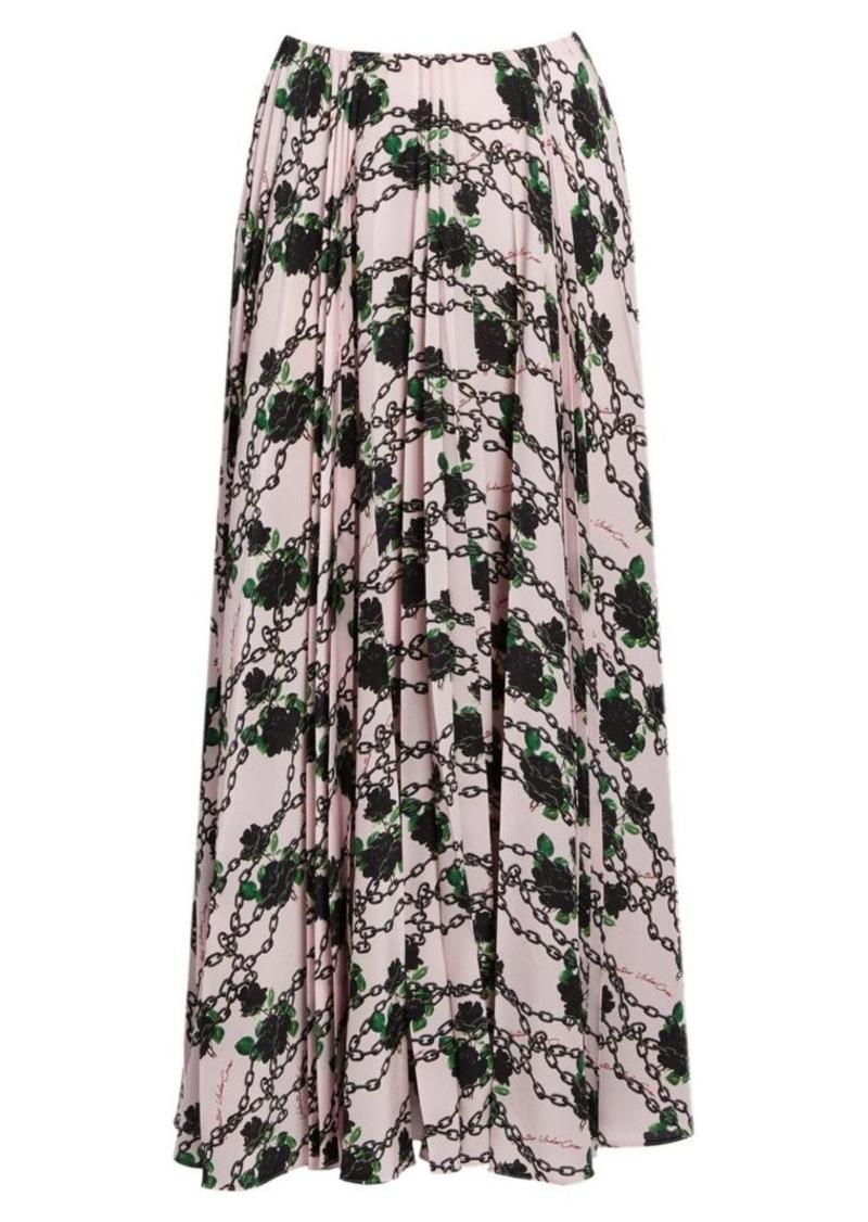 Valentino Rose & Chain Pleated Silk Skirt