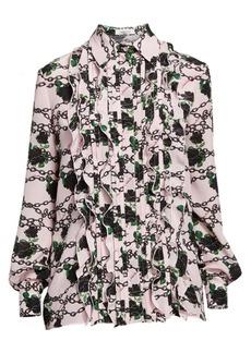 Valentino Rose & Chain Ruffle Silk Tuxedo Blouse