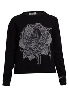 Valentino Rose & Chain Wool & Cashmere Knit Crewneck Sweater