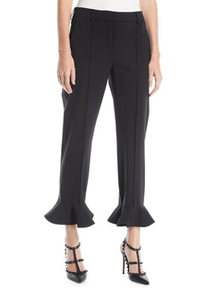 Valentino Ruffle-Hem Straight-Leg Stretch-Wool Ankle Pants