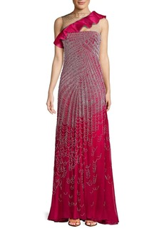 Valentino Ruffle Silk Floor-Length Gown