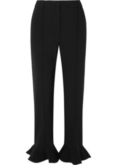 Valentino Ruffled Cady Straight-leg Pants