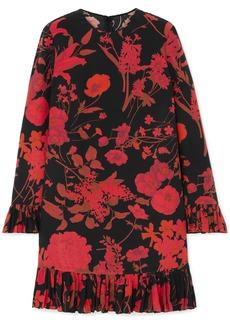 Valentino Ruffled Floral-print Silk Crepe De Chine Midi Dress
