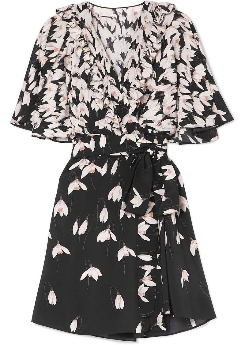 Valentino Ruffled Floral-print Silk Crepe De Chine Mini Wrap Dress