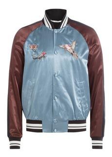 Valentino Satin Bomber Jacket with Embroidery