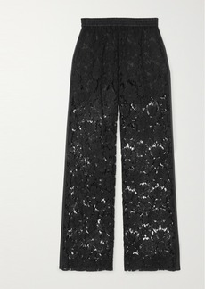 Valentino Satin-trimmed Corded Lace Wide-leg Pants