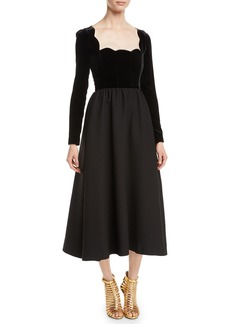 Valentino Scallop-Neck Long-Sleeve Velvet-Top Crepe Couture Evening Gown