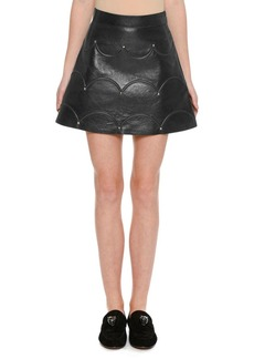 Valentino Scalloped Rockstud Leather A-Line Miniskirt