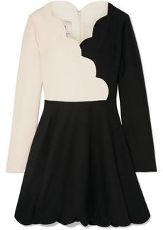 Valentino Scalloped Two-tone Wool And Silk-blend Mini Dress