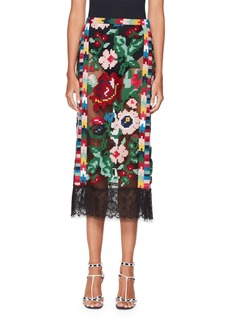 Valentino Semisheer Carpet-Embroidered Pencil Skirt with Lace Hem