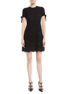 Valentino Short-Sleeve A-Line Crepe Couture Heavy Lace Dress