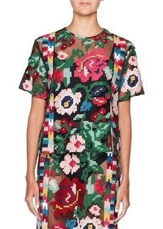 Valentino Short-Sleeve Carpet-Embroidered Blouse