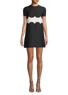Valentino Short-Sleeve Crepe-Couture A-Line Dress w/ Rockstud Waist