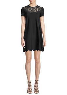 Valentino Short-Sleeve Crewneck A-Line Knit Cocktail Dress w/ Lace Inset