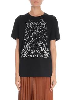 Valentino Short-Sleeve Fenice Print Jersey Tee