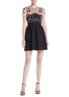 Valentino Short-Sleeve Floral-Embroidered Mesh Crepe Couture Cocktail Dress