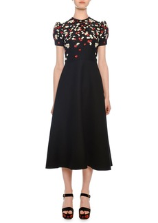 Valentino Short-Sleeve Floral-Embroidered Mid-Calf Crepe Couture Dress