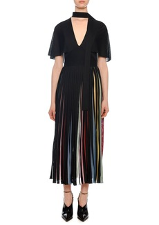 Valentino Short-Sleeve Knit Midi Dress with Rainbow Inset