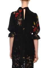 Valentino Short-Sleeve Puff-Shoulder Crepe de Chine Floral-Print Blouse