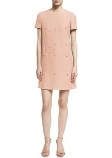 Valentino Short-Sleeve Scalloped Rockstud Dress