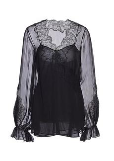 Valentino Silk Chiffon Lace Blouse