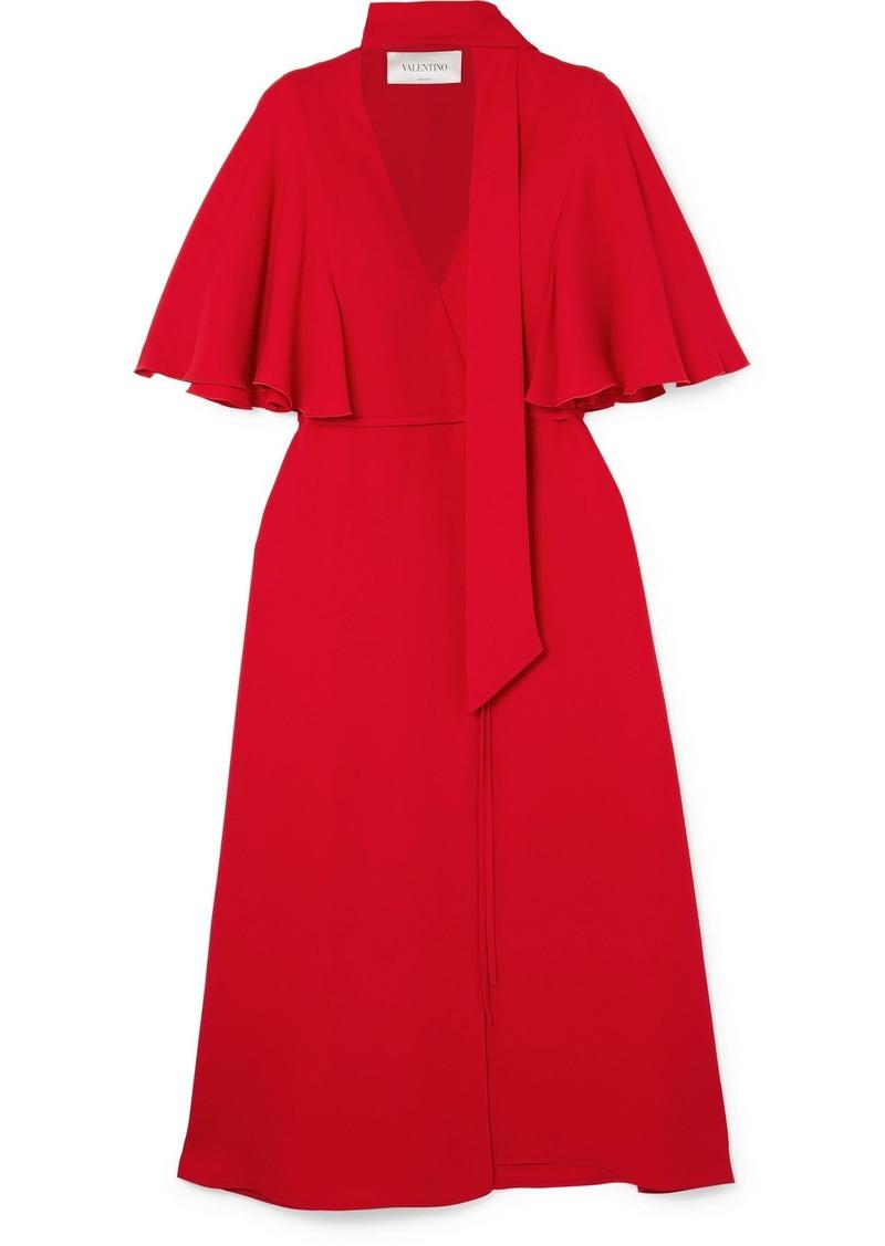 Valentino Silk Crepe De Chine Wrap Midi Dress