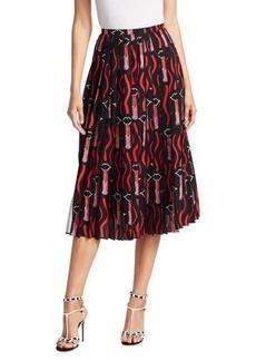 Valentino Lipstick-Print Pleated Skirt