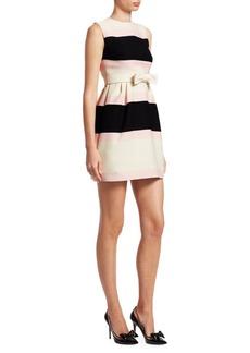 Valentino Sleeveless Striped Belted Dress