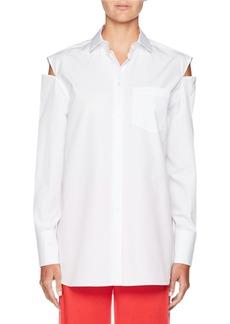 Valentino Slit-Shoulder Button-Front Cotton Poplin Blouse