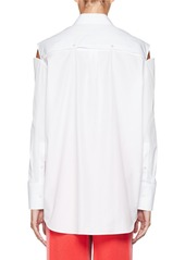 Valentino Slit-Shoulder Button-Front Cotton Poplin Blouse