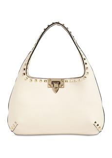 Valentino Small Rockstuds Leather Hobo Bag