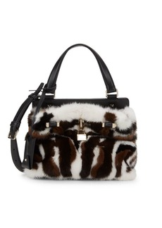 Valentino Small Mink Fur & Leather Top Handle Bag