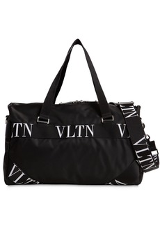 Valentino Small Vltn Logo Nylon Boston Bag