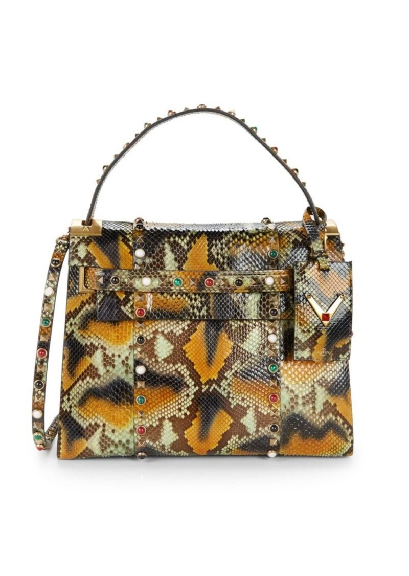Valentino Snakeskin Leather Top Handle Bag