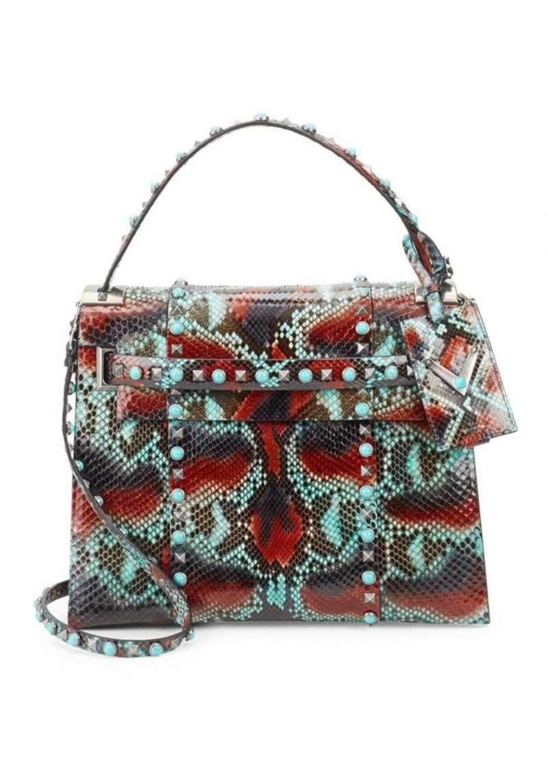 72ab2325f96 SALE! Valentino Snakeskin Top Handle Bag