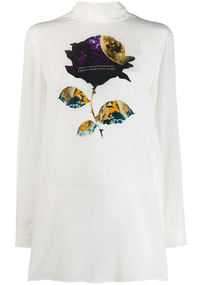 Valentino space rose print blouse