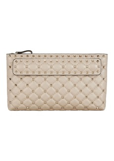 Valentino Spike Hand Strap Leather Clutch