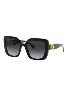 Valentino Square Acetate Sunglasses w/ V Hardware