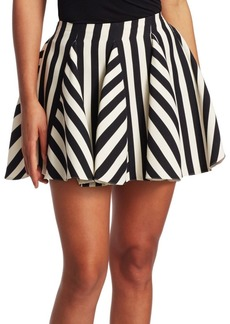 Valentino Stripe Flared Mini Skirt