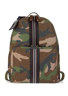 Valentino Striped Leather-Trim Camo Backpack