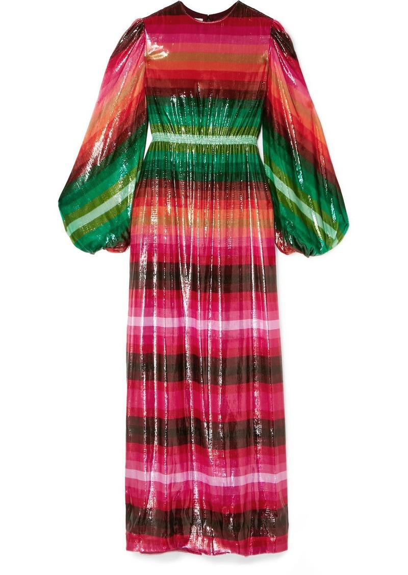 Valentino Striped Metallic Velvet Maxi Dress