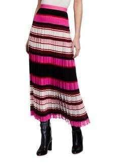 Valentino Striped Plisse Midi Skirt