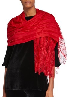 Valentino Striped Stole w/ Lace