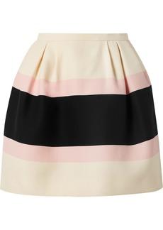 Valentino Striped wool and silk-blend crepe mini skirt