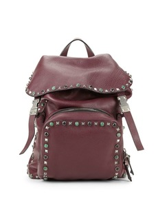 Valentino Stud & Embroidery Pebbled-Leather Backpack