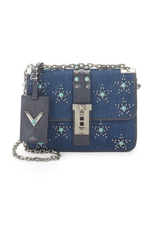 Valentino Studded Denim Crossbody Bag