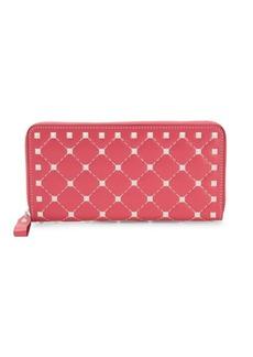 Valentino Studded Grid Leather Zip-Around Wallet
