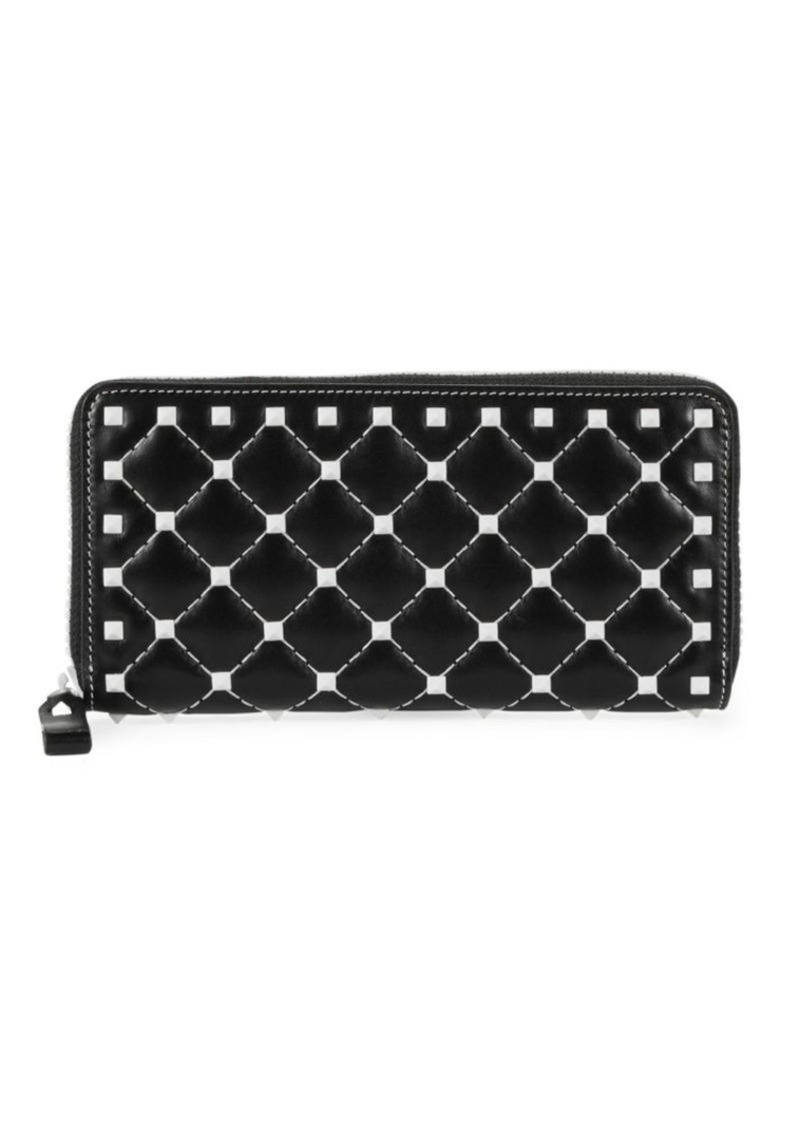 Studded Leather Continental Wallet